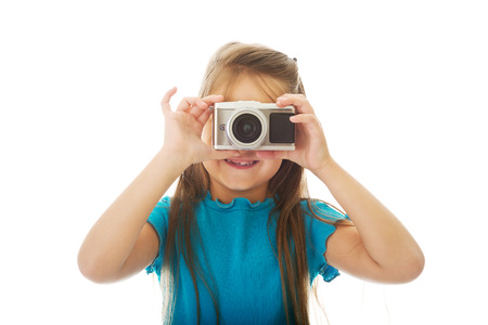 shootting: Little girl with photo camera