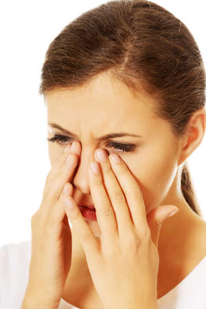 sore eye: Young woman with sinuses pain