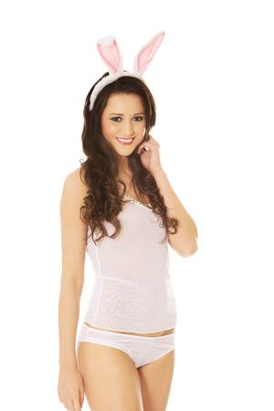 playboy: Happy beautiful woman wearing bunny ears