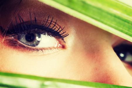 eye make up: Beauty woman with artistic eye make up.