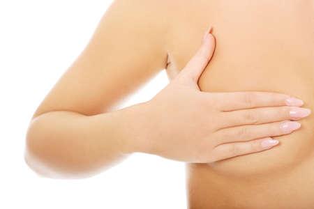 Frau Prüfung Brust Mastopathie oder Krebs. Lizenzfreie Bilder