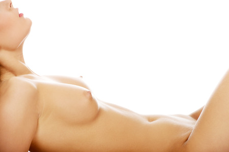 naked belly: Beautiful female slim naked belly and breast. Stock Photo