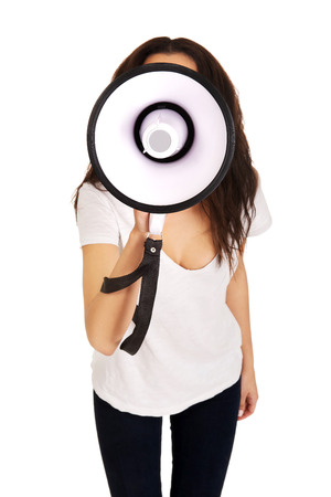 Attractive young woman with megaphone. photo