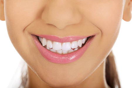 mouth close up: Afrian womans mouth with perfect smile.