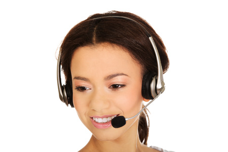 Attractive african call center operator. photo