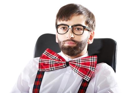 weirdo: Funny old fashioned man sitting by a desk.
