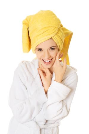 woman bathrobe: Smiling spa woman in bathrobe. Stock Photo