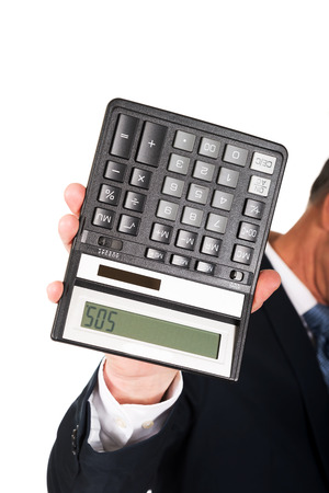 Financier businessman hand with calculator. photo