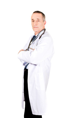 folded arms: Side view male doctor with folded arms.