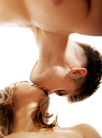 young couple sex: Young beautiful caucasian couple kissing.
