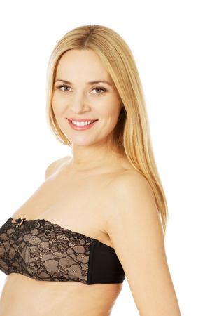 pregnant lingerie: Well groomed pregnant woman in lace lingerie Stock Photo