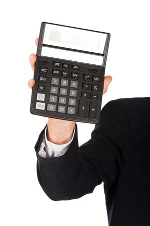 financier: Financier businessman hand with calculator.