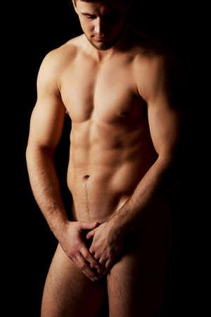 naked black men: Sexy naked muscular macho man.