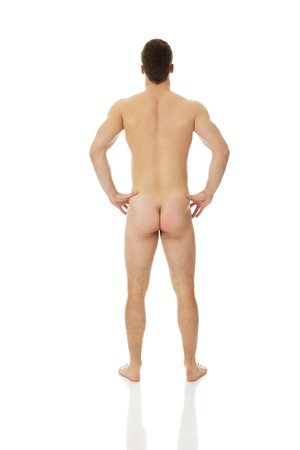 naked male body: Sexy naked muscular man back to camera.