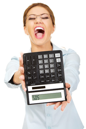 Fear woman with sos on calculator. photo