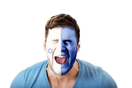 face paint: Screaming man with Israel flag painted on face.