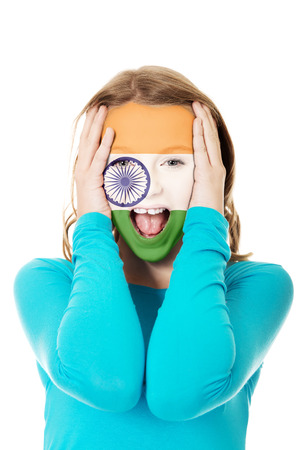 indie: Woman with Indie flag painted on face.
