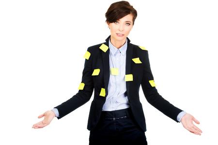 ind�cis: Affaires avec des cartes adh�sives montrant geste ind�cis.