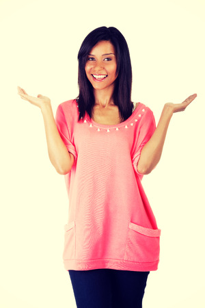 arms wide open: Woman making a scale with her arms wide open. Stock Photo