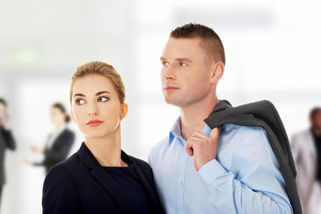 wondering: Businesspeople wondering about their job Stock Photo