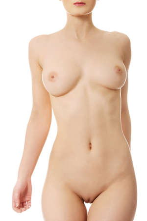nude women: Beautiful caucasian woman with naked breast. Stock Photo