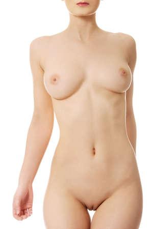 nude woman: Mujer cauc�sica hermosa con el pecho desnudo. Foto de archivo