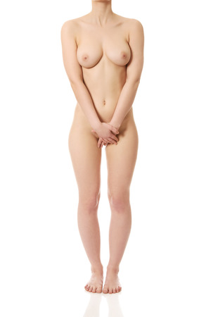 naked legs: Beautiful caucasian woman with naked breast. Stock Photo