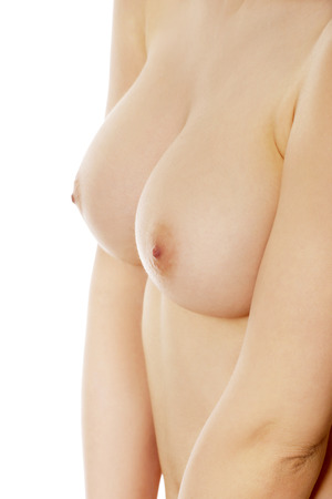 naked breast: Beautiful caucasian woman with naked breast. Stock Photo
