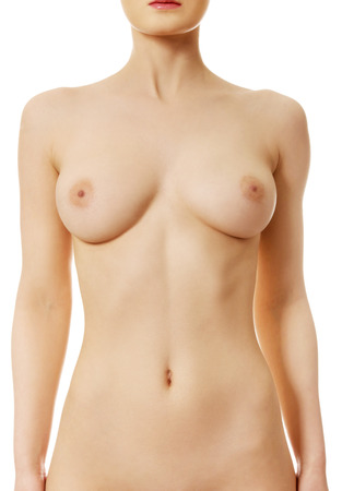 nude breast: Beautiful caucasian woman with naked breast. Stock Photo