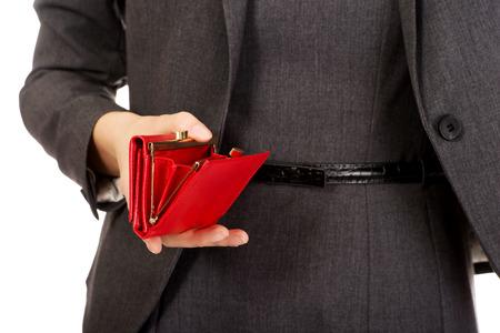 empty wallet: Caucasian businesswoman with empty wallet. Stock Photo
