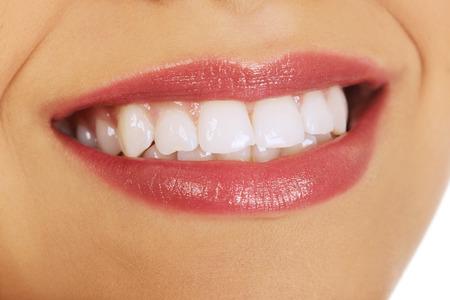 boca: Boca womans Afrian con sonrisa perfecta. Foto de archivo