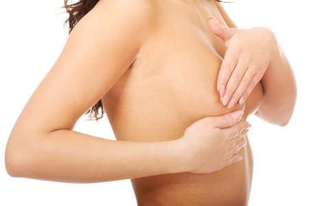 cancer de mama: Mujer que examina mastopatía mama o cáncer.