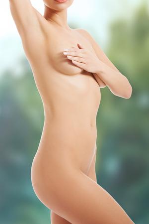 naked female body: Beautiful slim naked female body.