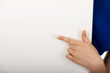 Womans finger showing empty banner. photo