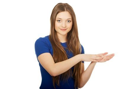 manos aplaudiendo: Mujer aplaudiendo adolescentes felices manos.