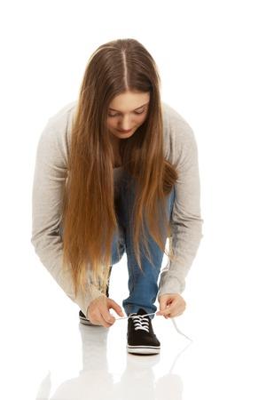mujer con corbata: Adolescentes Casual zapatos de mujer empate.