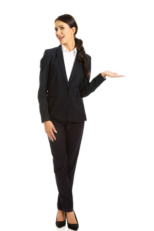 left hand: Businesswoman holding copyspace on the left hand.