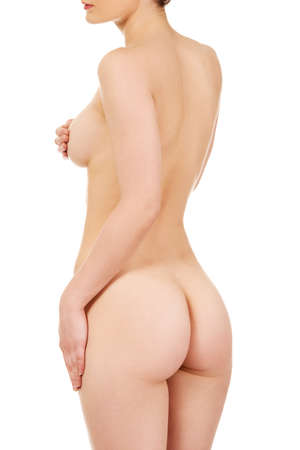 mujer desnuda: Hermosa mujer desnuda de nuevo a la cámara.