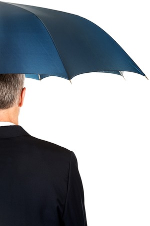 back view: Back view businessman with umbrella.