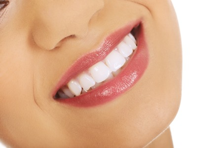 odontology: Afrian womans mouth with perfect smile.