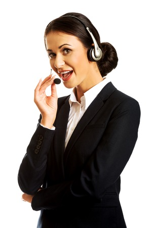hands free phones: Smiling call center woman in headset.