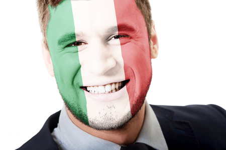 nationalistic: Happy man with Italy flag painted on face.