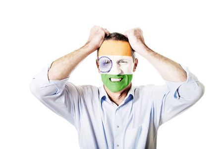 indie: Mature man with Indie flag painted on face.