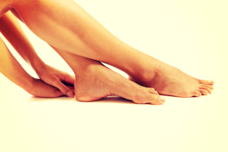 feet naked: Side view of perfect female legs.