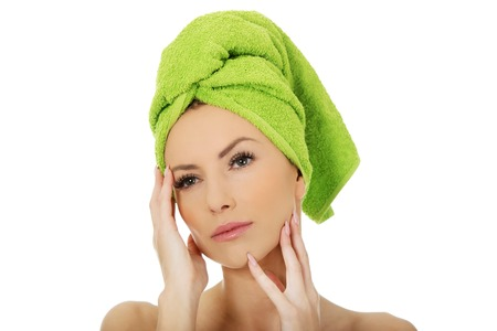 towel head: Beautiful woman with towel wrapped on head.