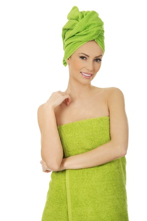 towel wrapped: Beautiful woman with towel wrapped on head.