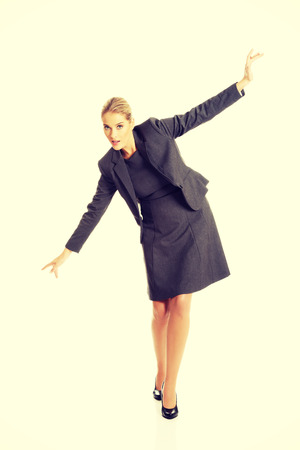 carefully: Beautiful woman walking extremelly carefully