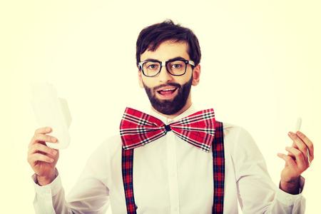 menstruacion: Hombre hermoso que desgasta las ligas con la pista de la menstruaci�n. Foto de archivo