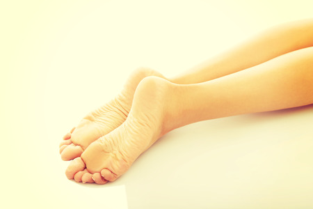 footcare: Close up on spa woman bare feet. Stock Photo