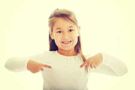 herself: Cute little girl pointing herself